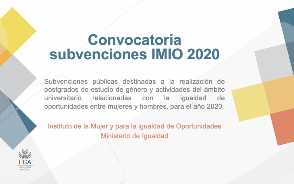 IMG Convocatoria subvenciones IMIO 2020