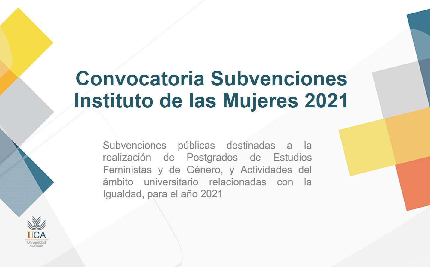 Convocatoria de subvenciones Instituto de las Mujeres 2021